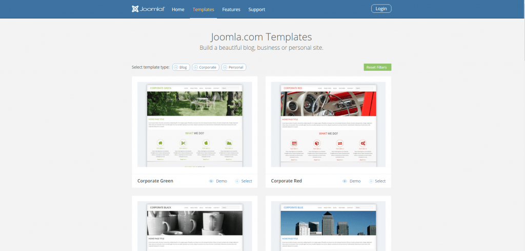joomla theme choice