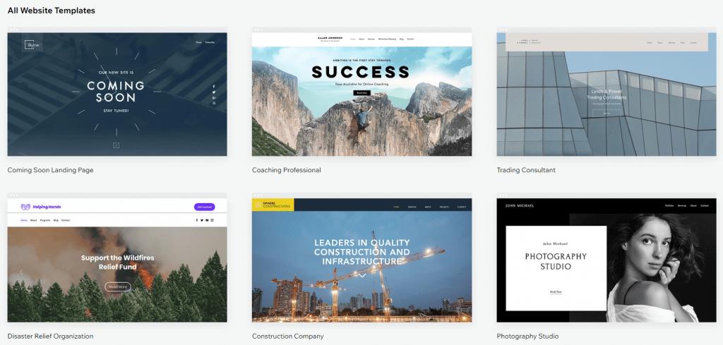 wix website templates