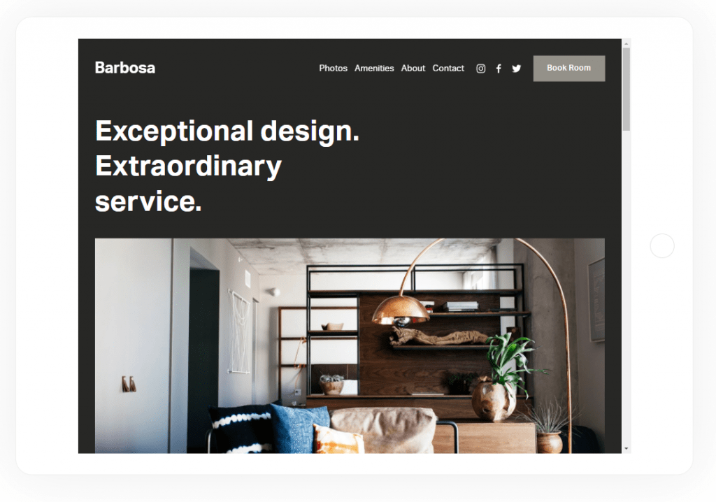 squarespace theme tablet preview